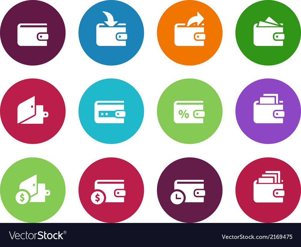 Wallet circle icons on white background vector | Price: 1 Credit (USD $1)