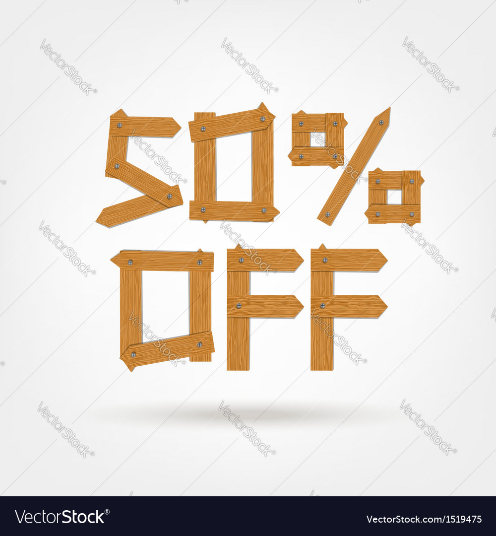 Wooden boards fifty off vector | Price: 1 Credit (USD $1)