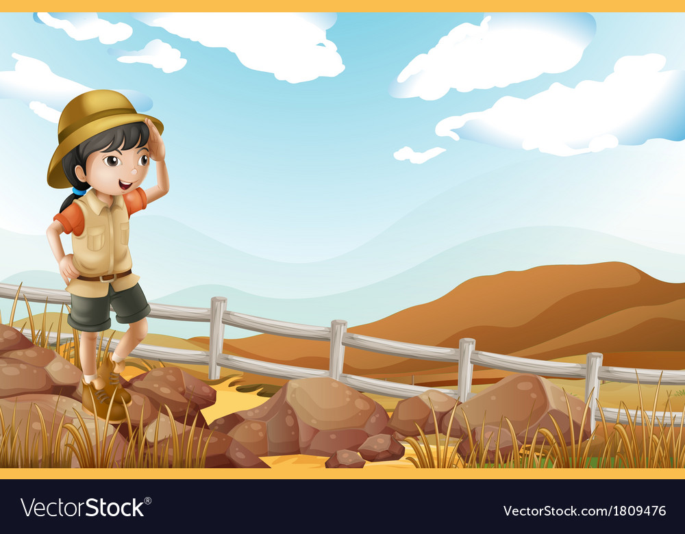 A young female explorer walking alone vector | Price: 1 Credit (USD $1)