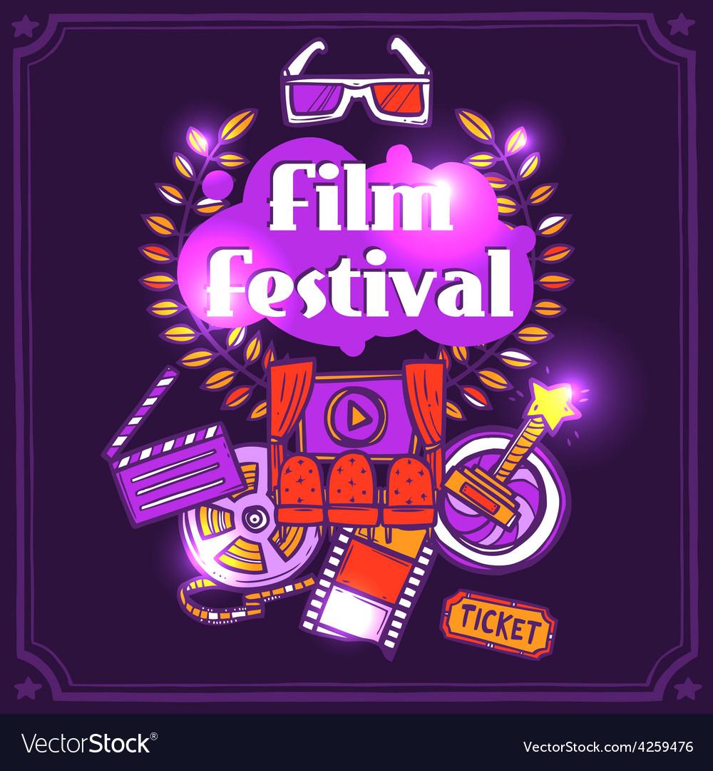 Cinema sketch poster vector | Price: 1 Credit (USD $1)