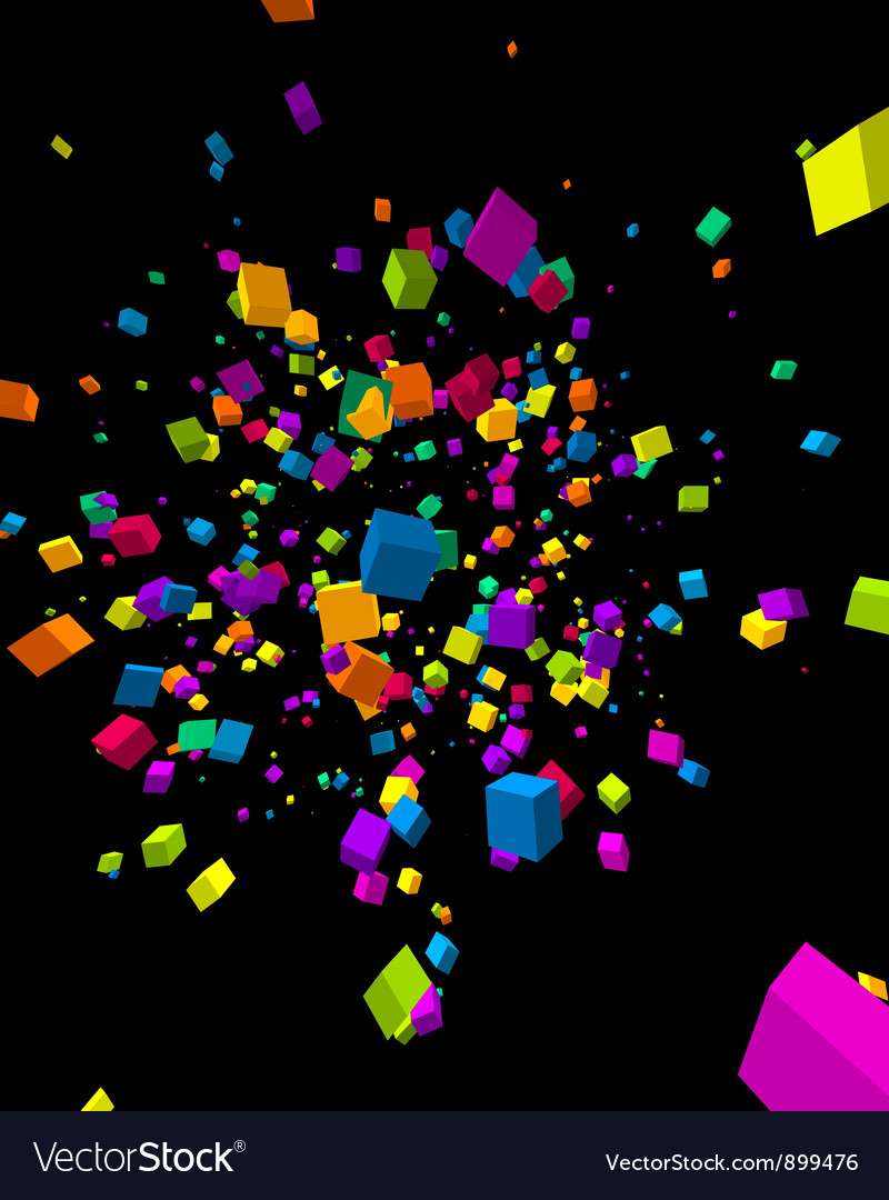 Colorful cubes burst background vector | Price: 1 Credit (USD $1)