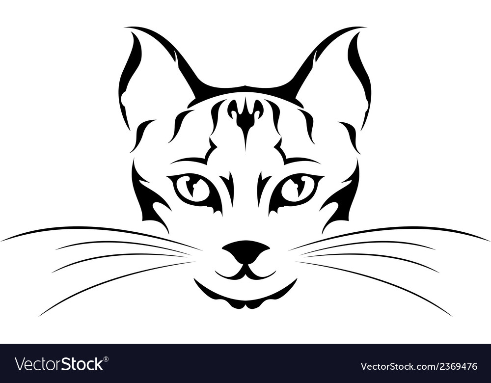 Head cat tattoo vector | Price: 1 Credit (USD $1)