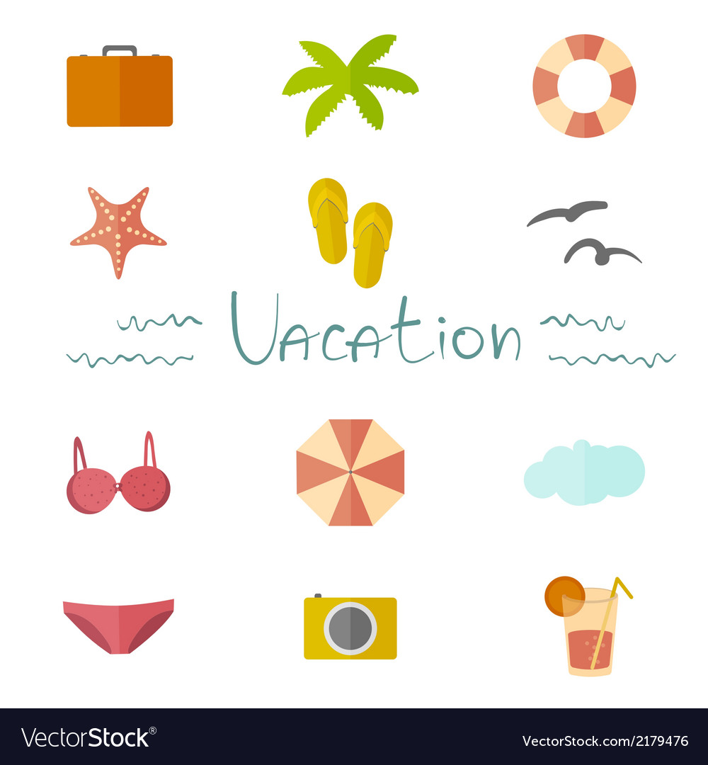 Icons vacation in a flat minimalist style vector | Price: 1 Credit (USD $1)