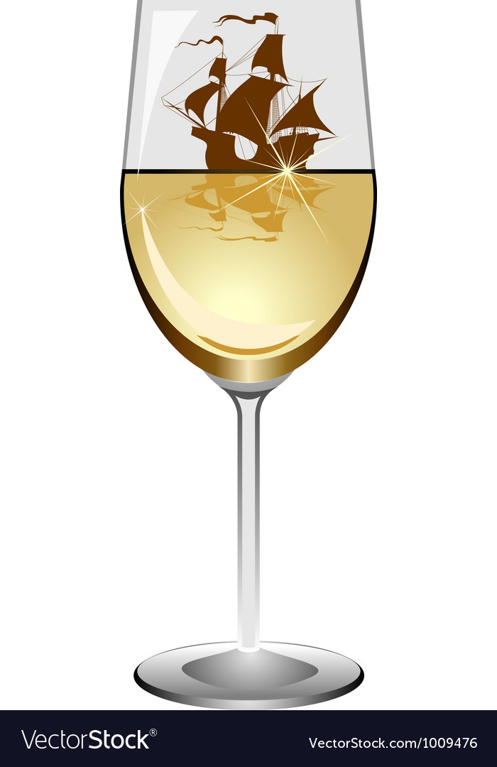 Sailboat in a wineglass vector | Price: 1 Credit (USD $1)