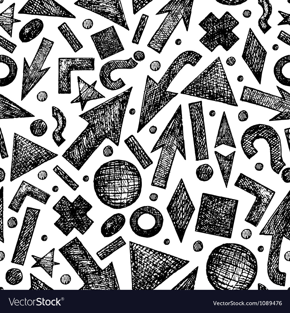 Seamless pattern with sketchy objects vector | Price: 1 Credit (USD $1)