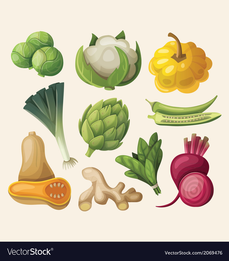 Set of exotic vegetables vector | Price: 3 Credit (USD $3)