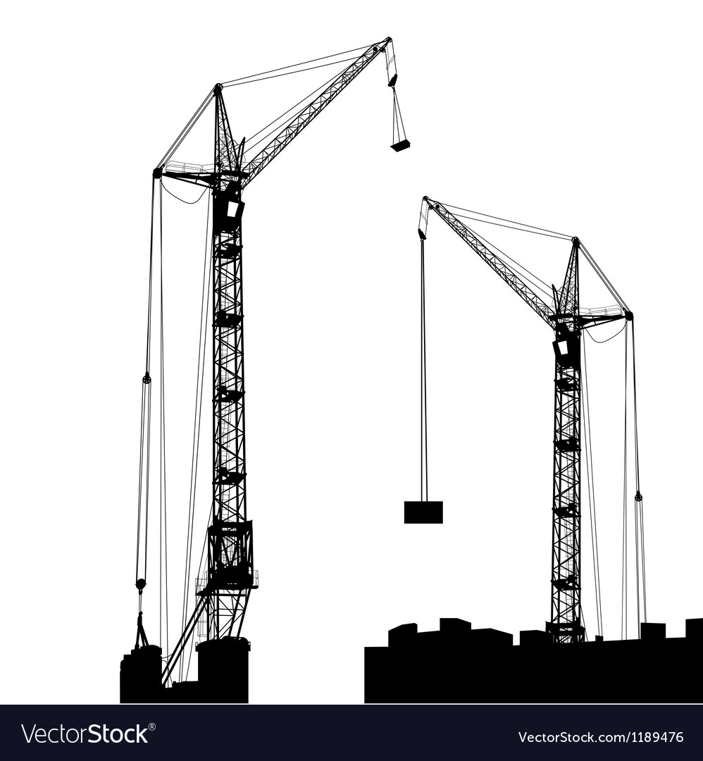 Silhouette of two cranes working on the building vector | Price: 1 Credit (USD $1)