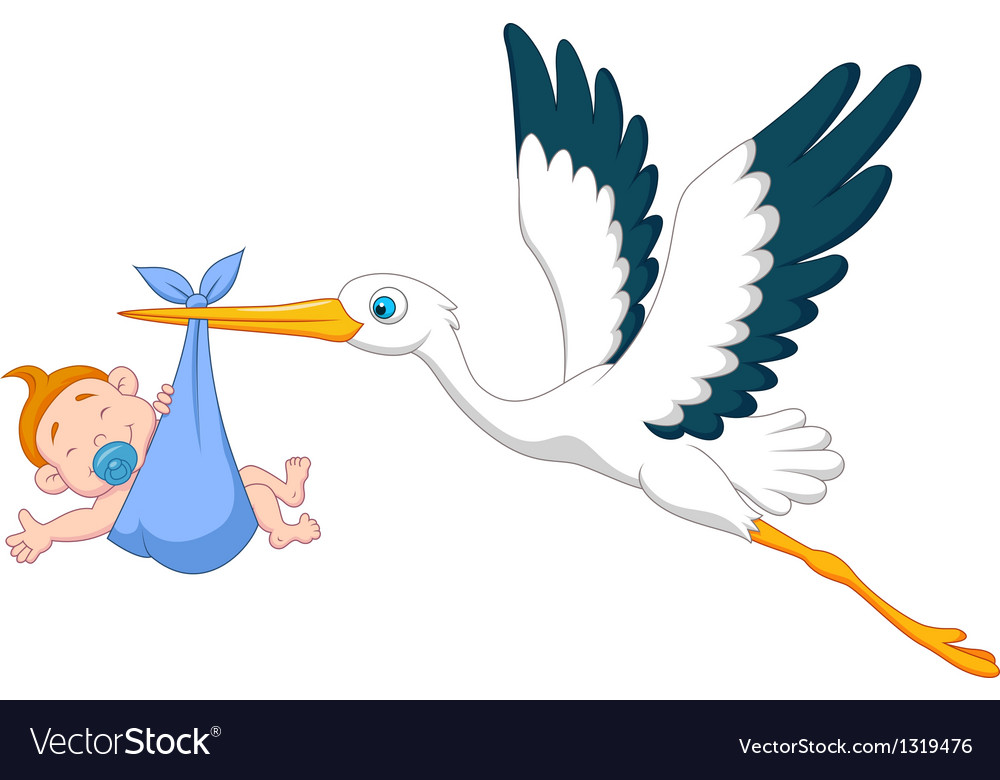 Stork with baby boy cartoon vector | Price: 1 Credit (USD $1)