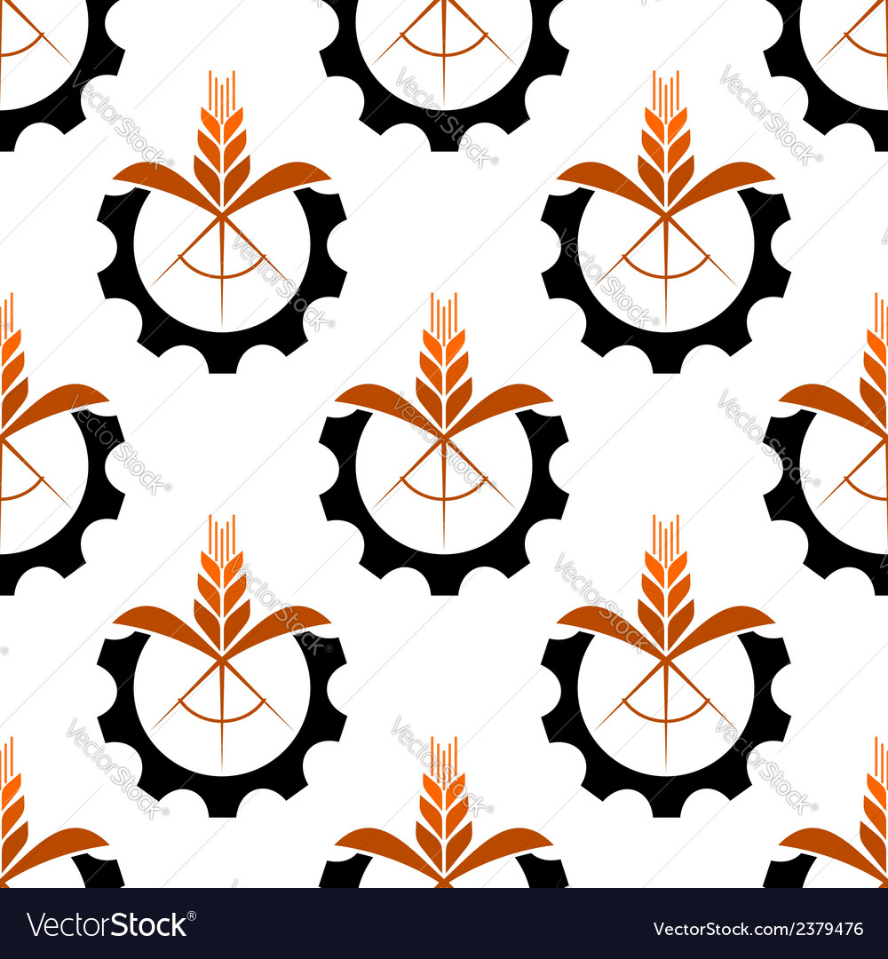 Wheat stalk and gear wheel seamless pattern vector | Price: 1 Credit (USD $1)