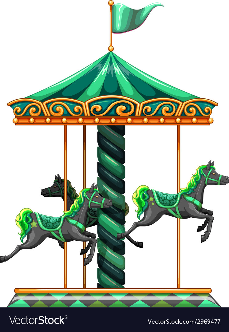 A green carrousel ride vector | Price: 1 Credit (USD $1)
