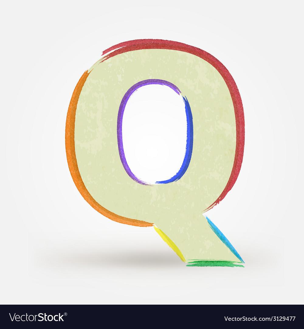 Alphabet letter q watercolor paint design element vector | Price: 1 Credit (USD $1)