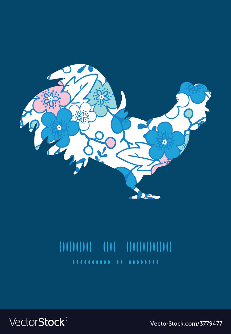 Blue and pink kimono blossoms rooster vector   Price: 1 Credit (USD $1)
