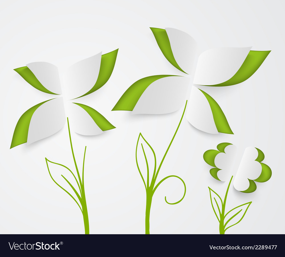 Flower and green leaves of paper vector | Price: 1 Credit (USD $1)
