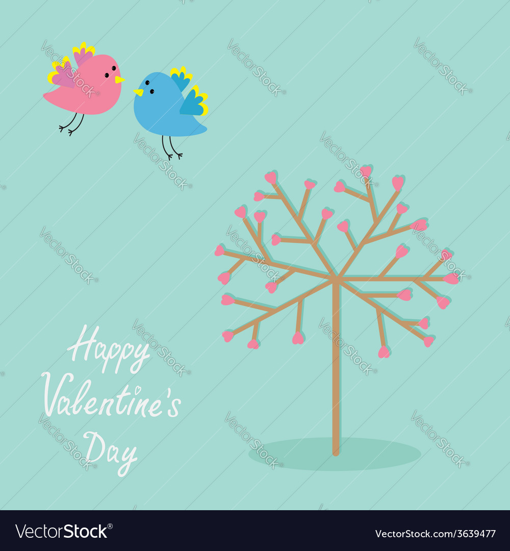 Love tree with hearts and bird flat design happy vector | Price: 1 Credit (USD $1)