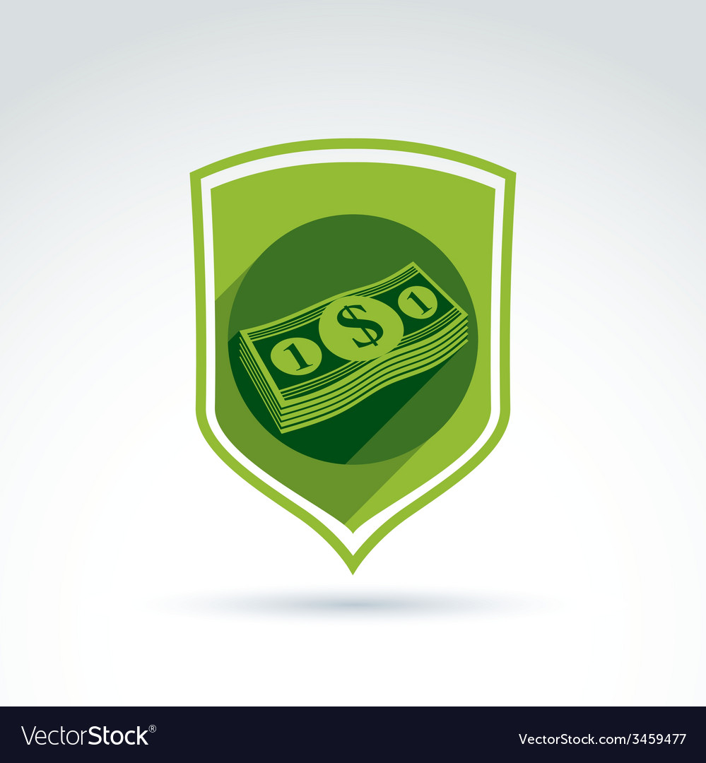 Shield with a bundle of money one dollar notes vector | Price: 1 Credit (USD $1)