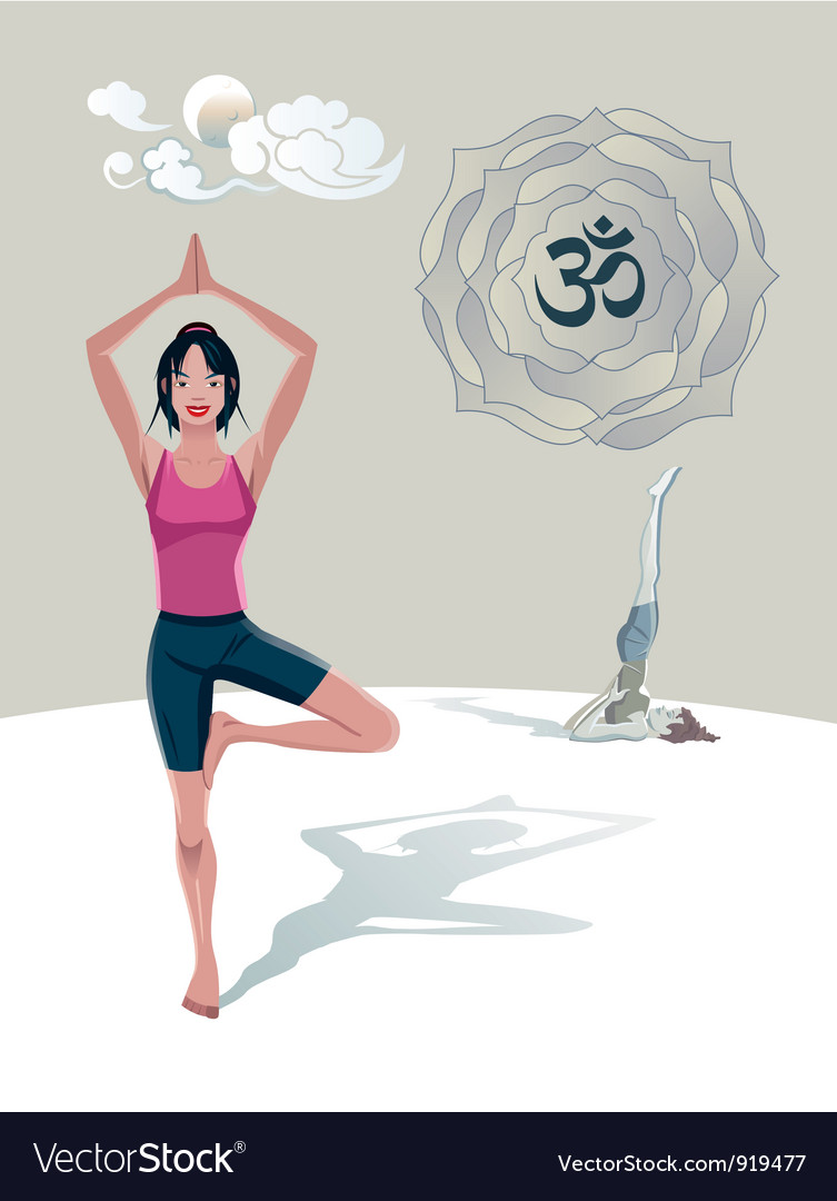 Woman practicing yoga tree asana vector | Price: 3 Credit (USD $3)