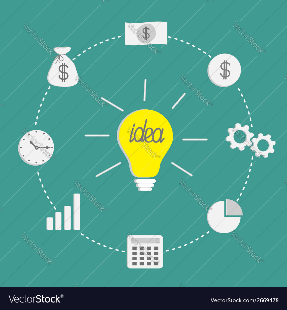 Business icon set light bulb idea incide dash line vector | Price: 1 Credit (USD $1)