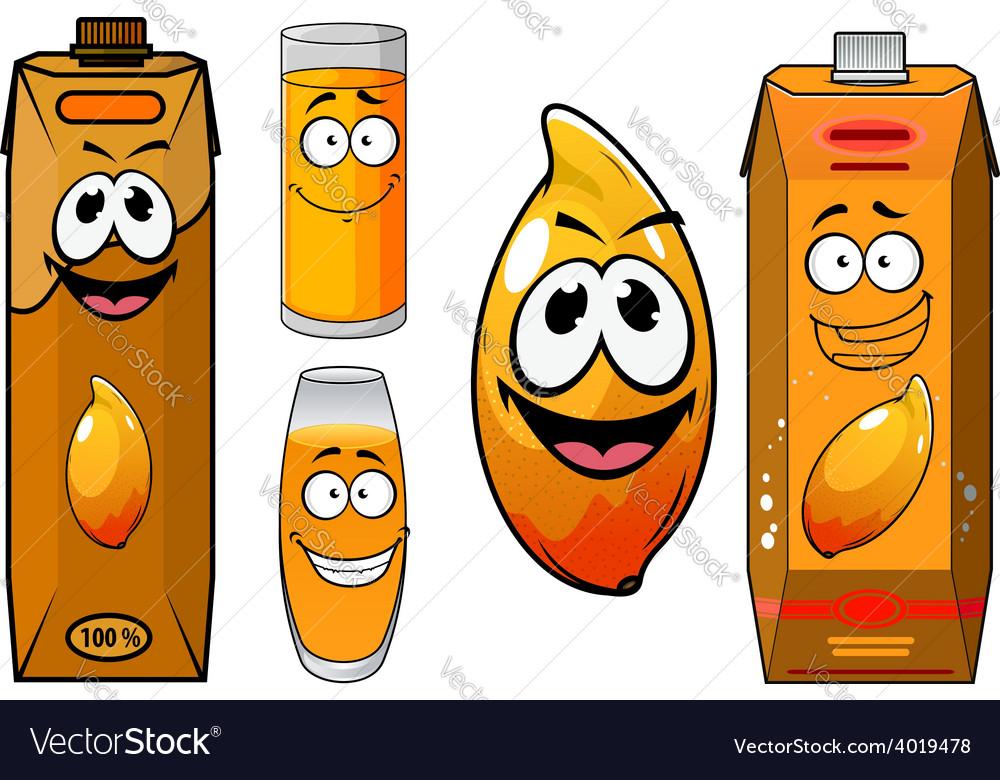 Cartoon funny fresh mango juice characters vector | Price: 1 Credit (USD $1)
