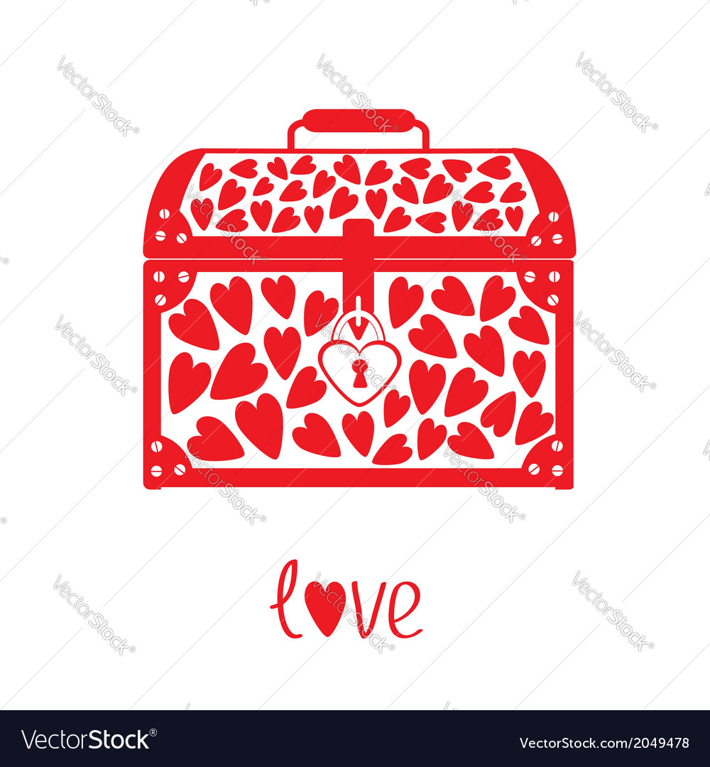 Chest vase with hearts love card vector | Price: 1 Credit (USD $1)