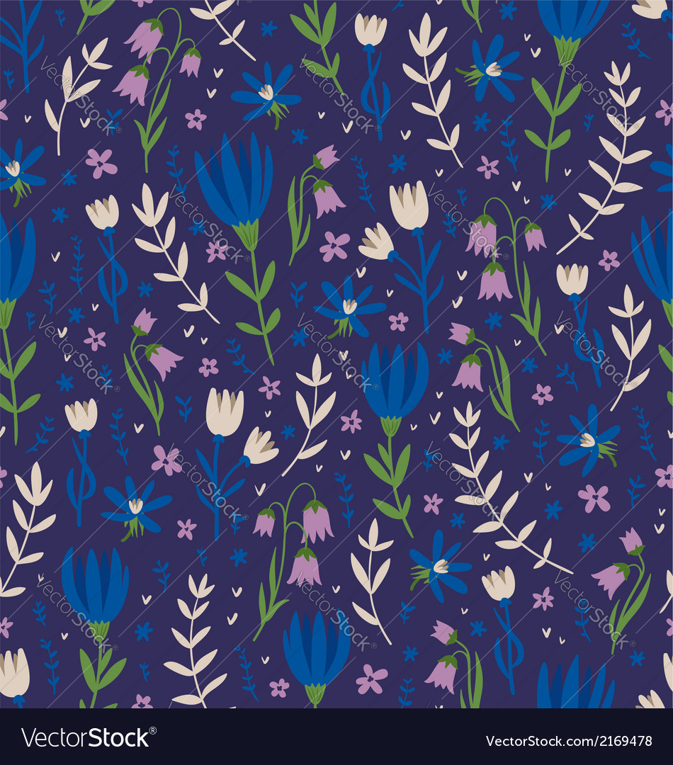 Deep blue floral pattern vector | Price: 1 Credit (USD $1)