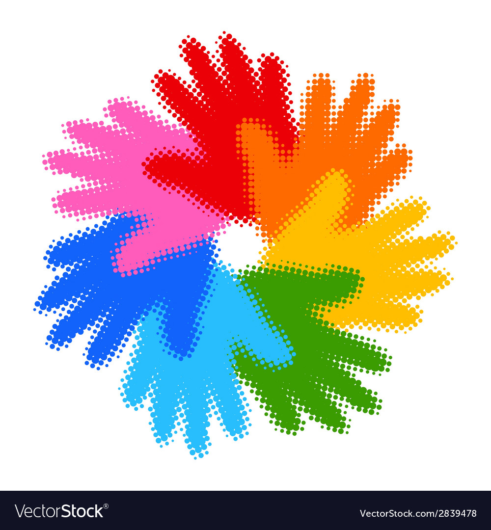 Halftone colorful hand print icon vector | Price: 1 Credit (USD $1)