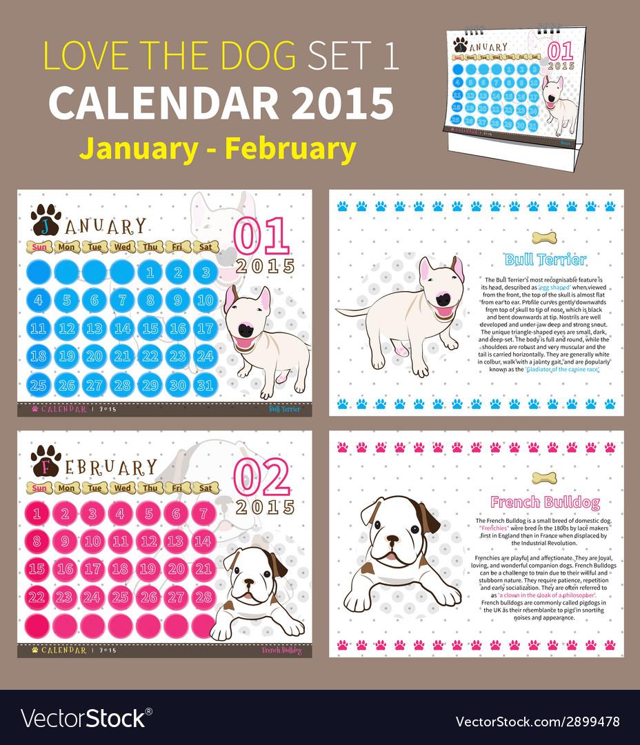 Love the dog calendar 2015 set 1 vector   Price: 1 Credit (USD $1)