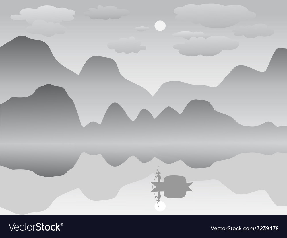 Mist mountain reflection lake landscape chinese vector | Price: 1 Credit (USD $1)