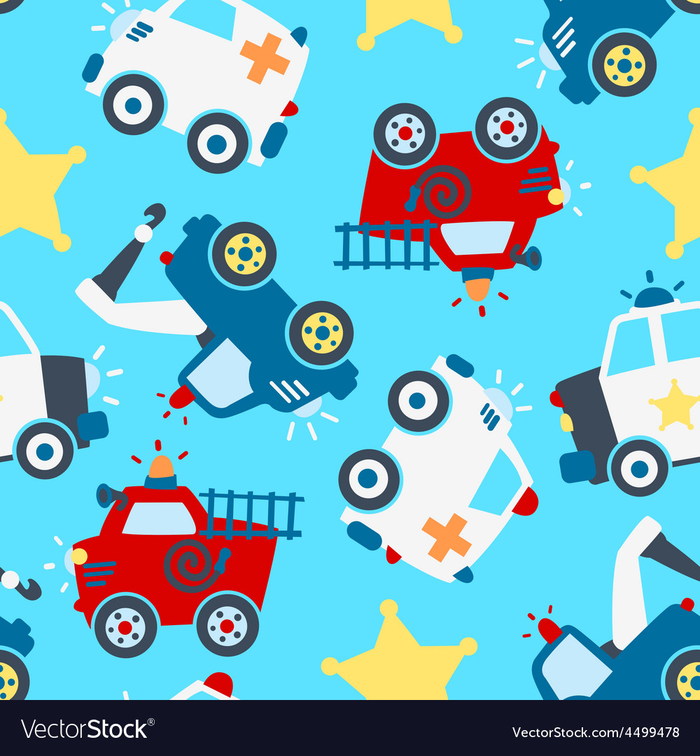 Rescue vehicles seamless pattern vector | Price: 1 Credit (USD $1)