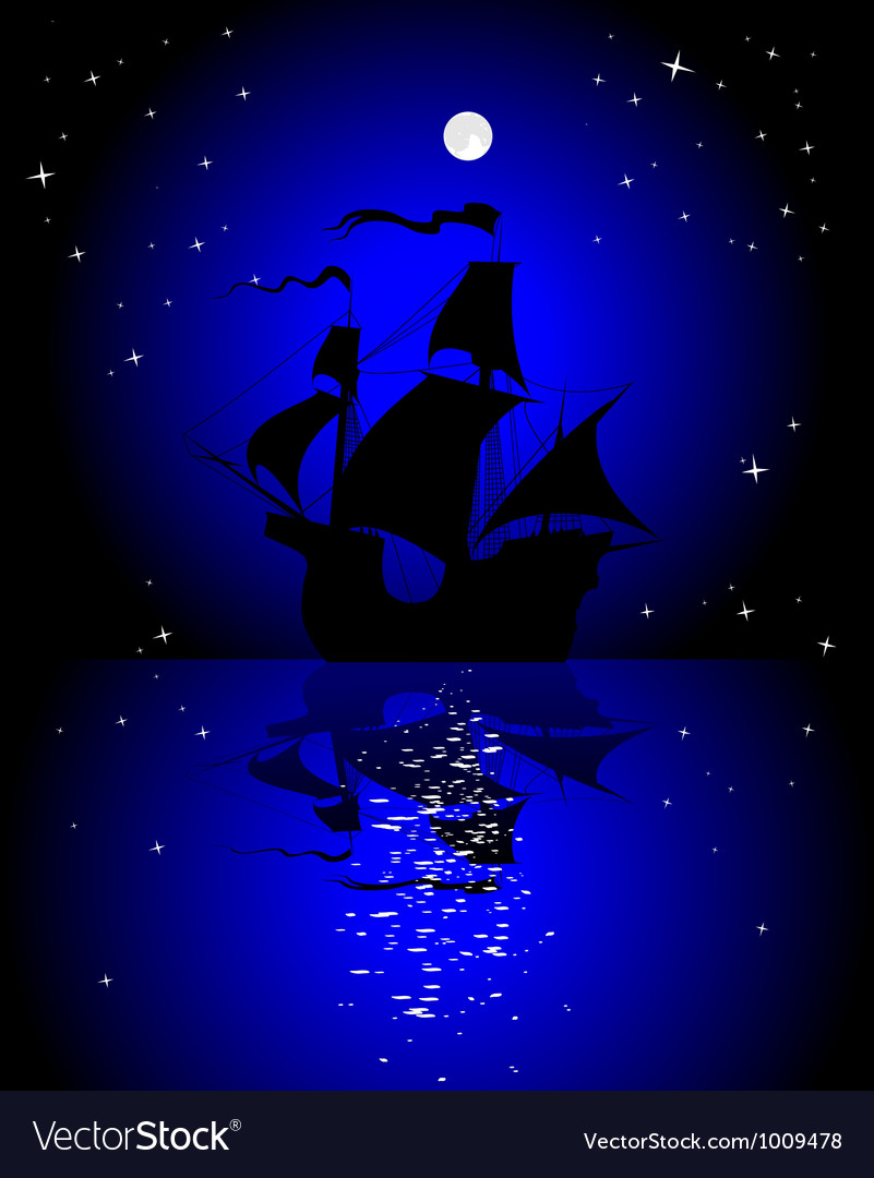 Sailboat in the moonlight vector | Price: 1 Credit (USD $1)