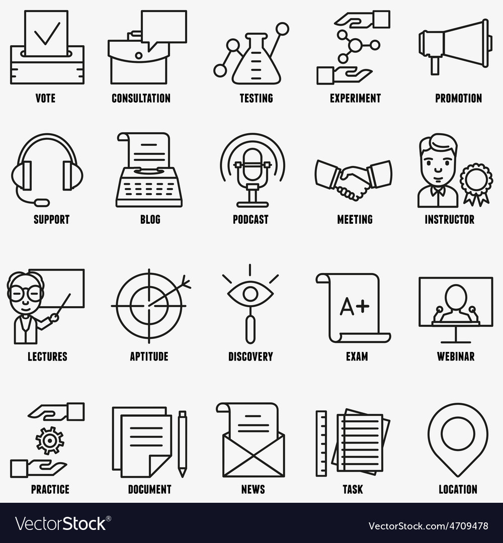 Set linear business education icons - part 2 vector | Price: 1 Credit (USD $1)
