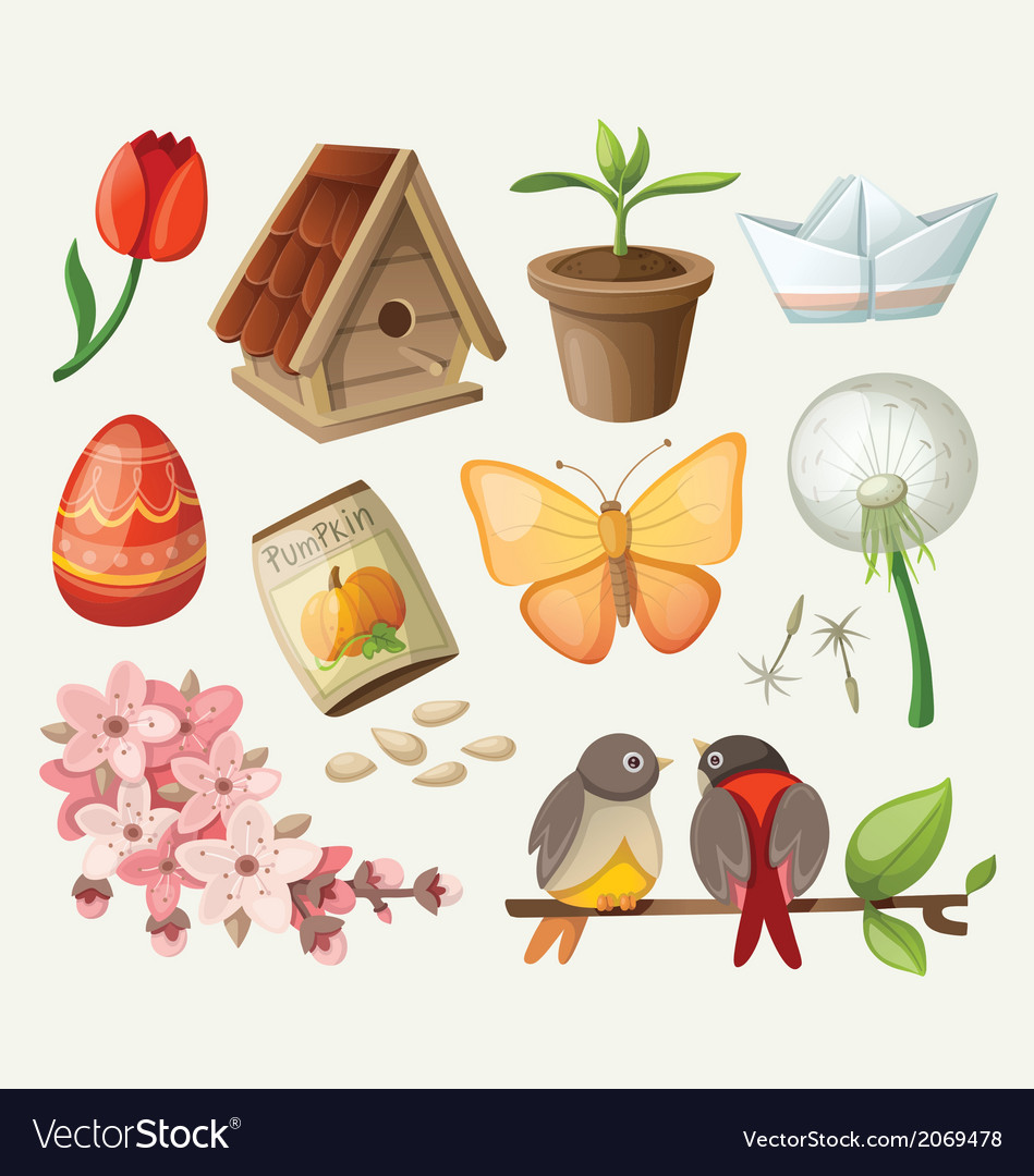 Set of spring items vector