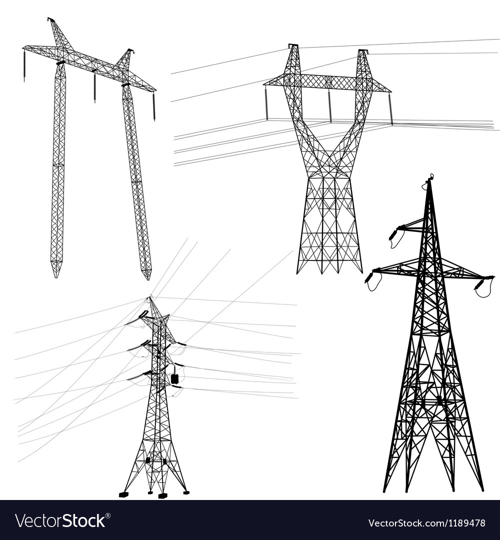 Set silhouette of high voltage power lines vector | Price: 1 Credit (USD $1)