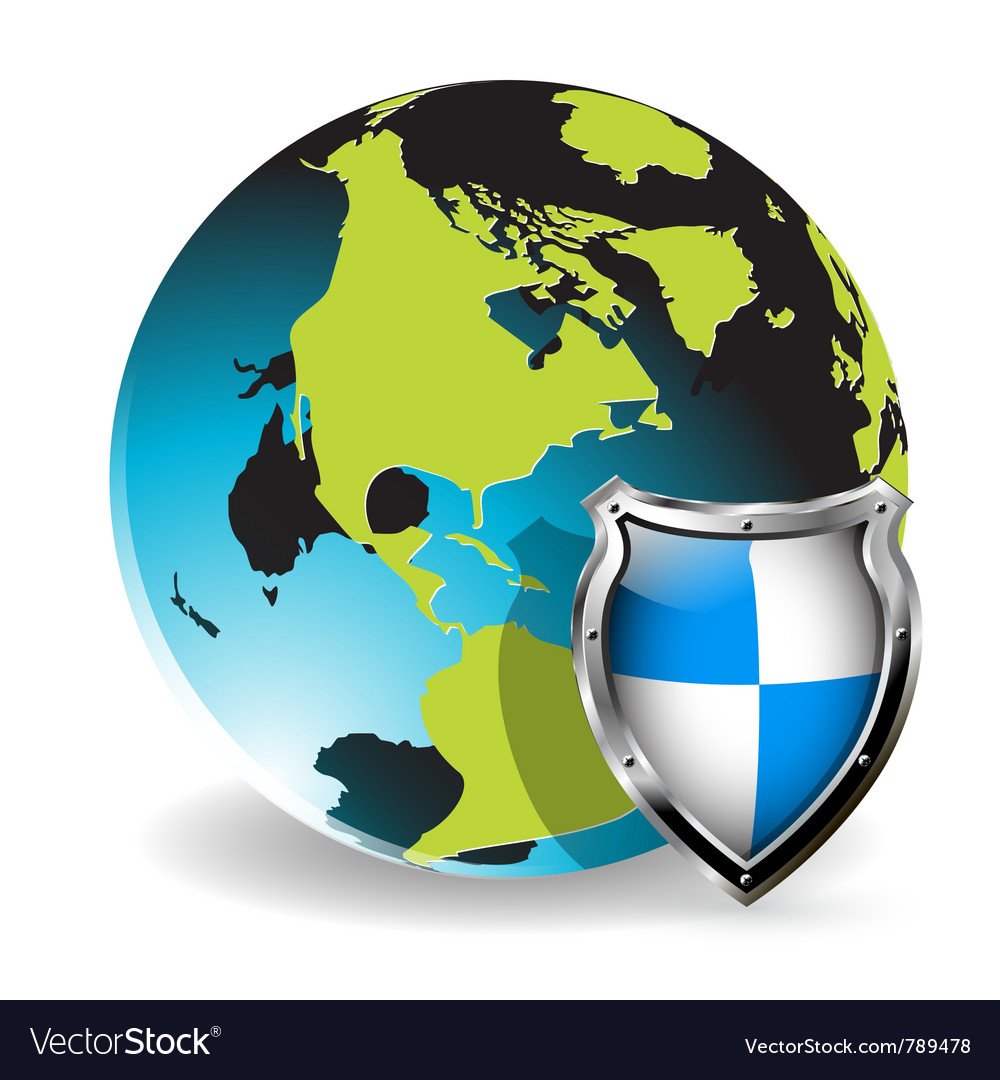 Shield globe vector | Price: 1 Credit (USD $1)