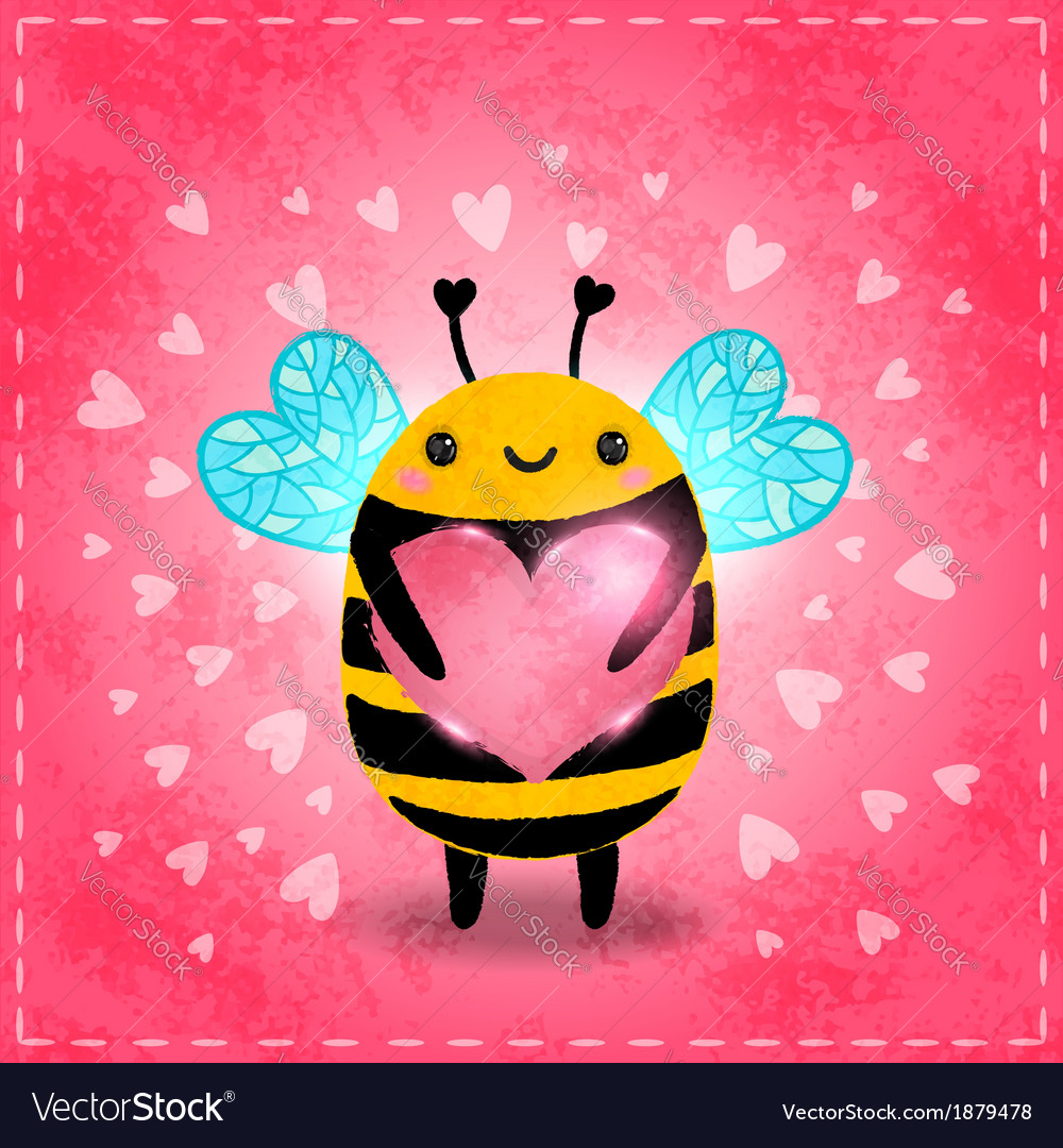 Valentines day greeting card with bee and heart vector | Price: 1 Credit (USD $1)