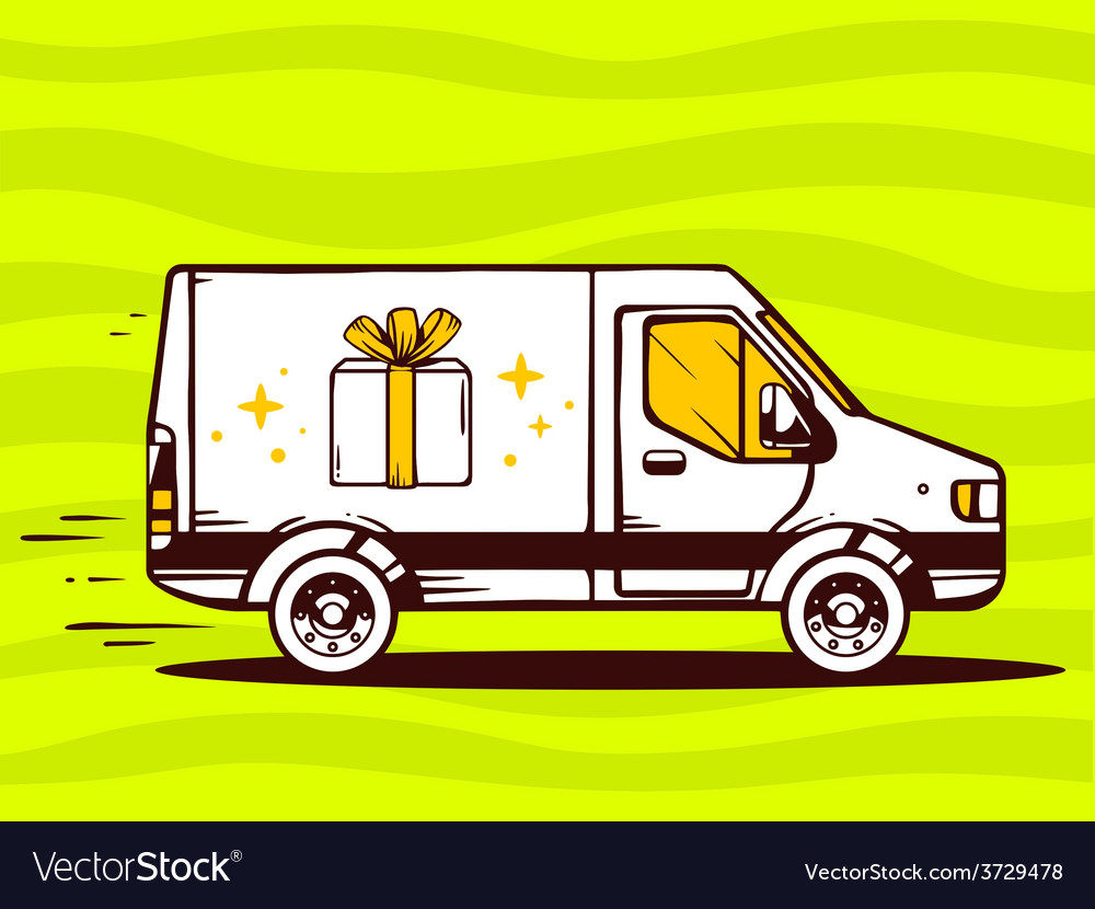 Van free and fast delivering gift box to vector | Price: 1 Credit (USD $1)