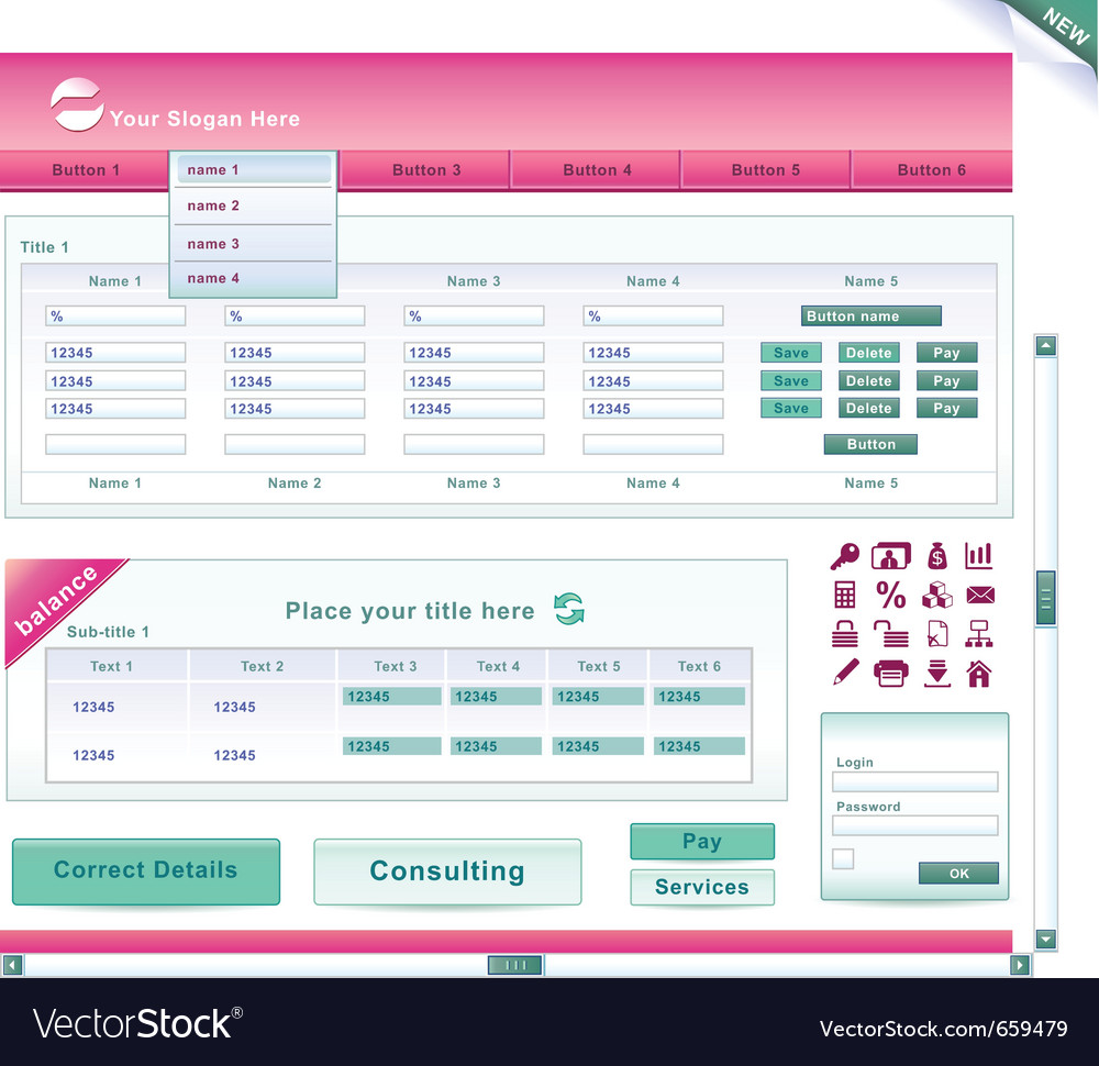 Bank website vector | Price: 3 Credit (USD $3)