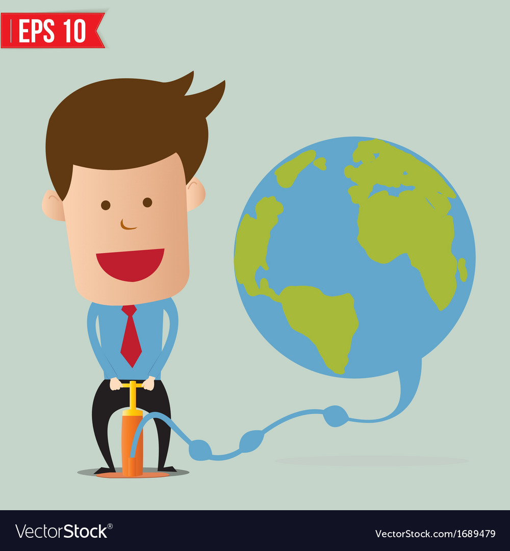 Cartoon business man pumping earth balloon - vector | Price: 1 Credit (USD $1)