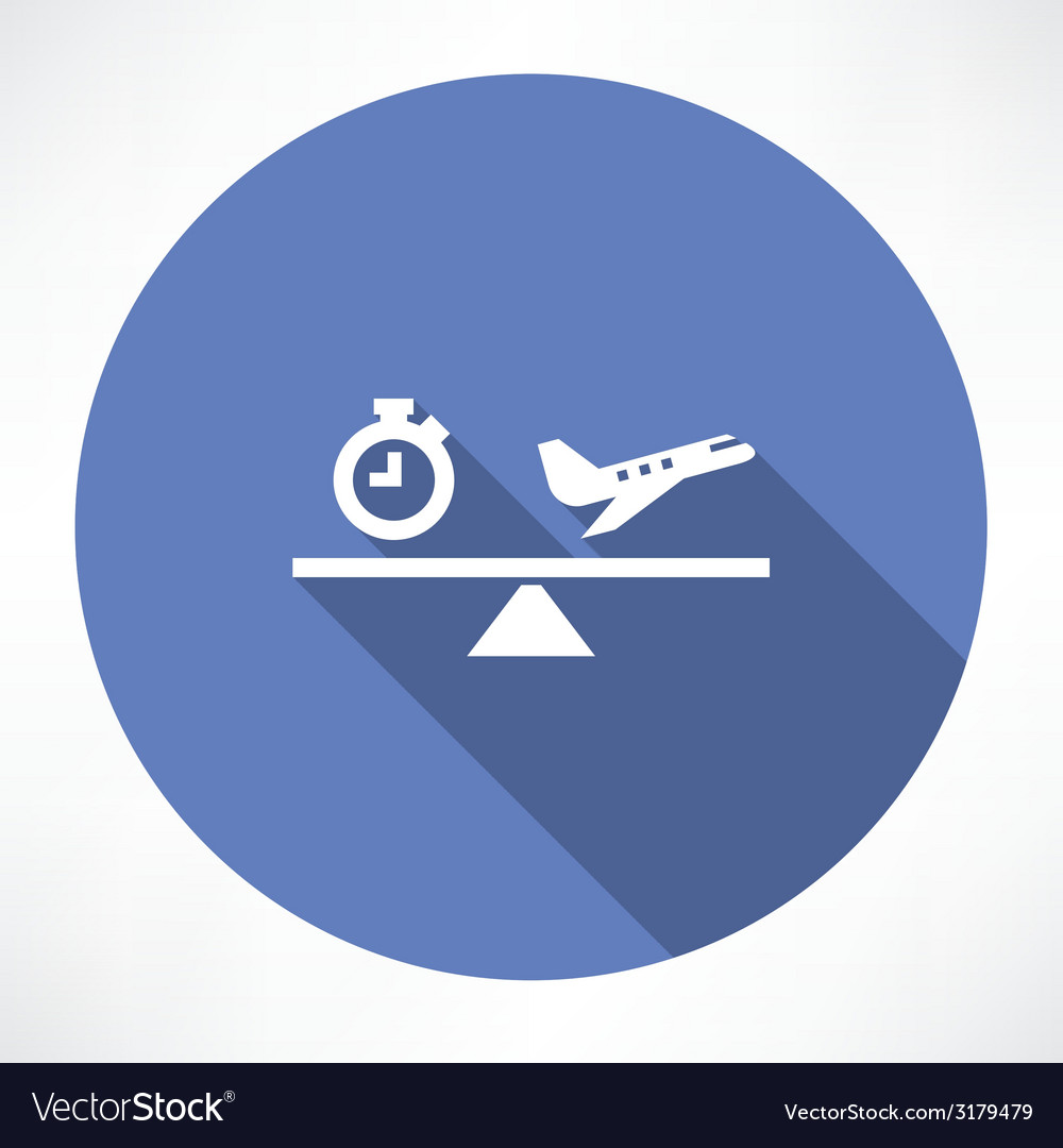 Clock and airplane on the scales icon vector | Price: 1 Credit (USD $1)