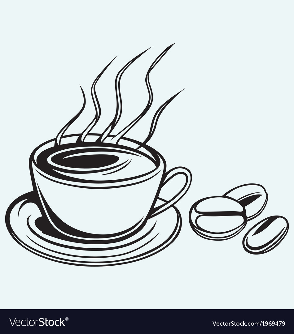 Coffee cup and beans vector | Price: 1 Credit (USD $1)