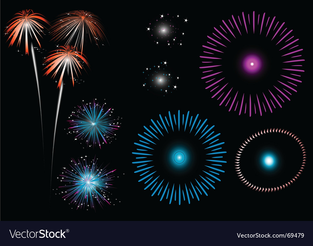 Colorful fireworks vector | Price: 1 Credit (USD $1)