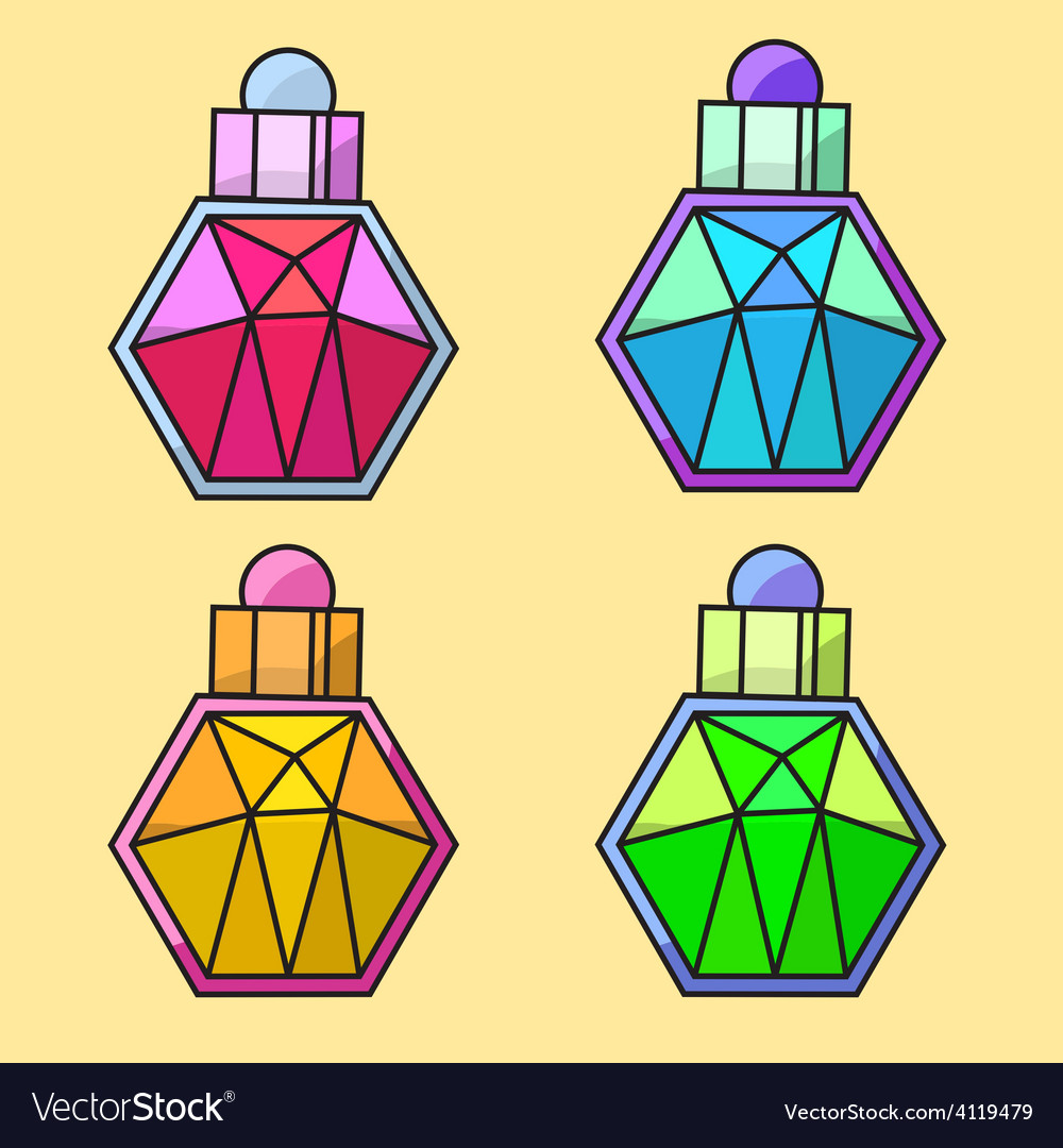 Design of coloured parfume bottles vector | Price: 1 Credit (USD $1)
