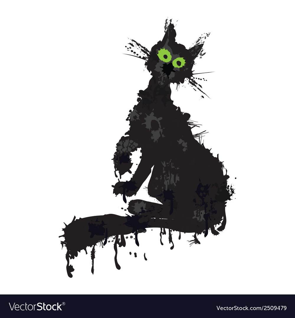 Halloween cat ink silhouette animal kitty isolated vector | Price: 1 Credit (USD $1)