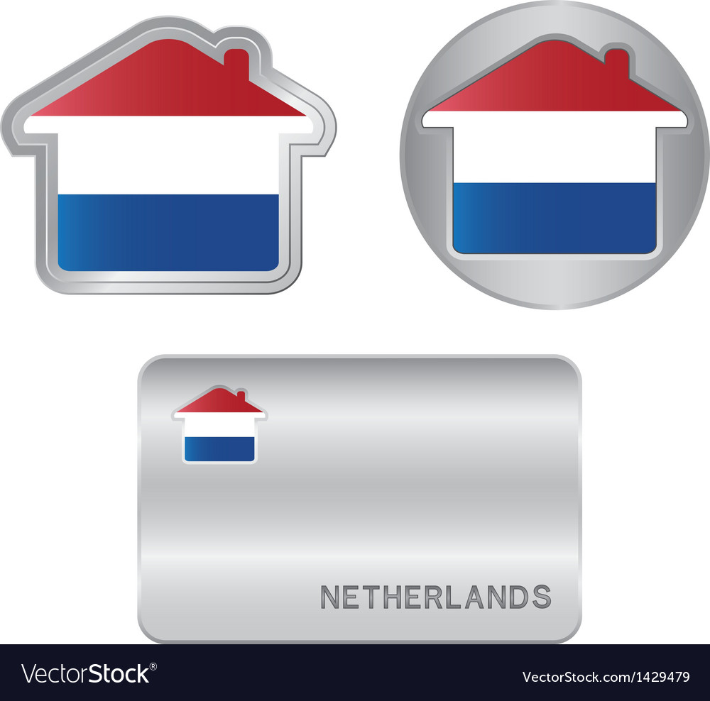 Home icon on the netherlands flag vector | Price: 1 Credit (USD $1)