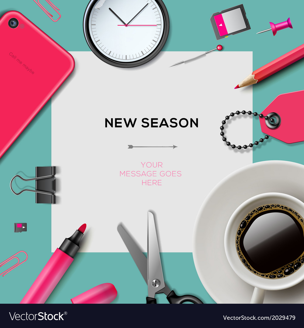 New season template with office supplies vector | Price: 1 Credit (USD $1)