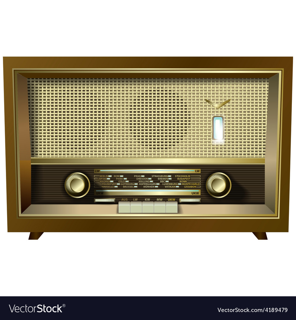 Retro radio isolated on a white background vector | Price: 1 Credit (USD $1)