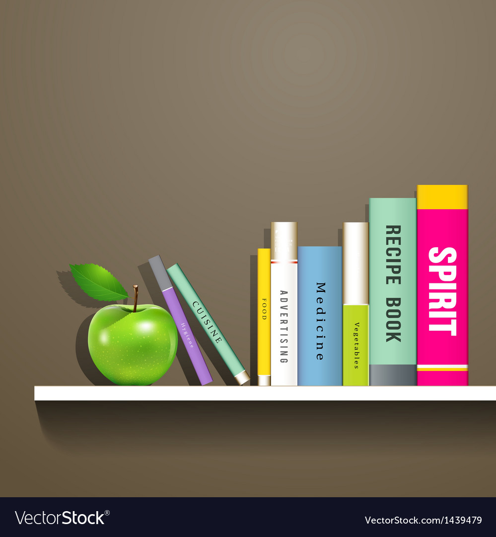 Row of colorful books and green apple vector | Price: 1 Credit (USD $1)