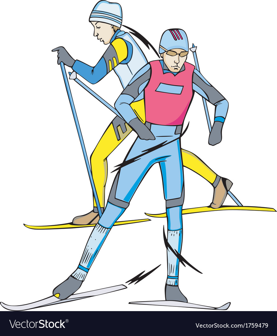 Skiing skiers vector | Price: 1 Credit (USD $1)
