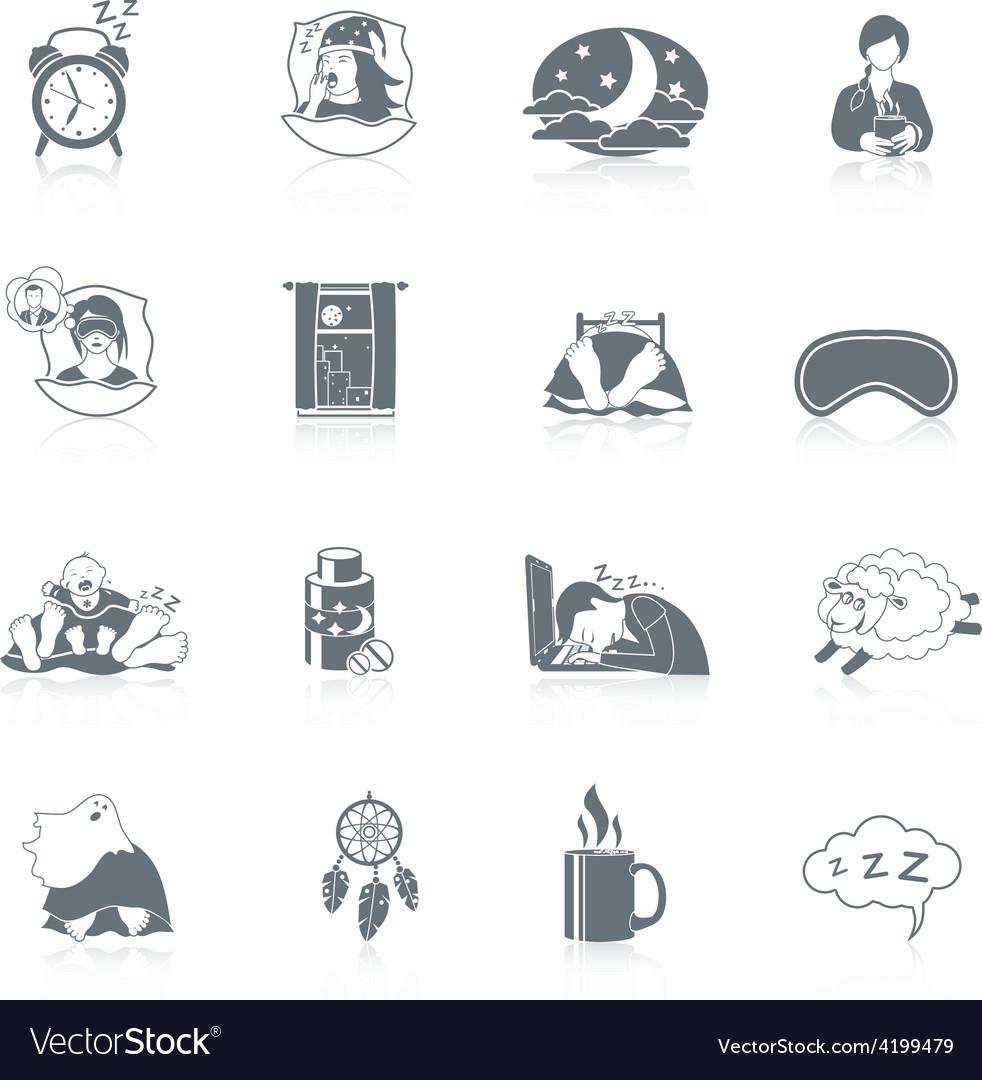 Sleep time icon set vector | Price: 1 Credit (USD $1)