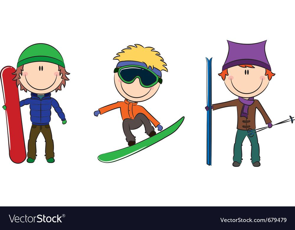 Snowboard and skis vector | Price: 1 Credit (USD $1)