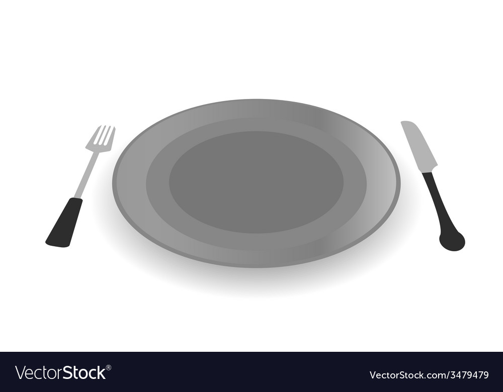Steel plate with knife and fork vector | Price: 1 Credit (USD $1)